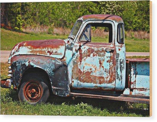 Blue Antique Chevy Truck- Fine Art Wood Print
