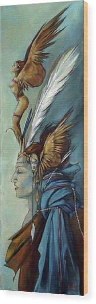 Blue Art Deco Indian Headdress Hood Ornamental Wood Print