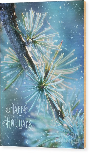 Blue Atlas Cedar Winter Holiday Card Wood Print