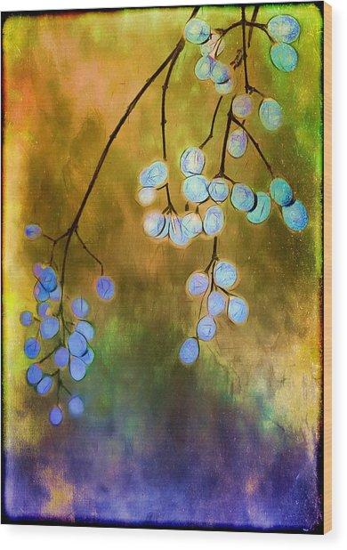 Blue Autumn Berries Wood Print
