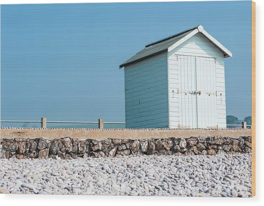Blue Beach Hut Wood Print