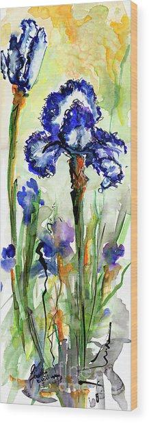 Blue Bearded Irises Watercolor Wood Print