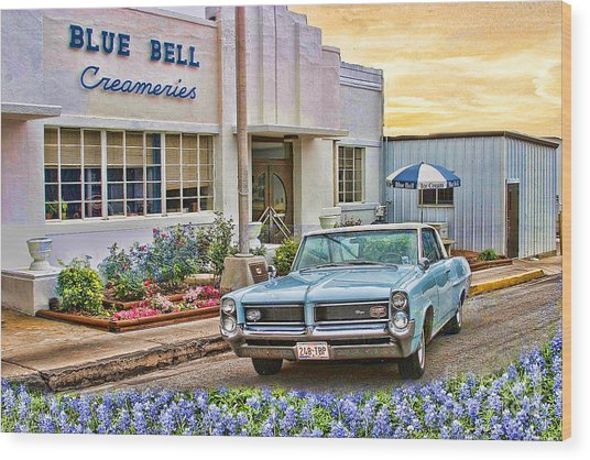 Blue Bell, Bluebonnets, And My Grand Prix Wood Print