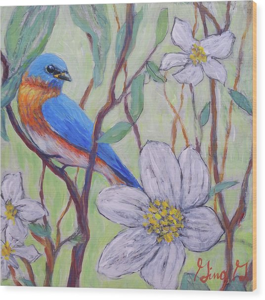 Blue Bird And Blossoms Wood Print