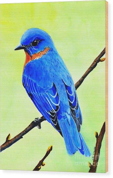 Blue Bird King Wood Print