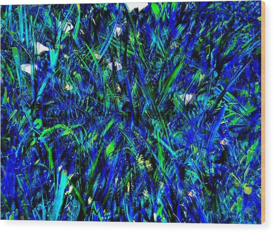 Blue Blades Of Grass Wood Print
