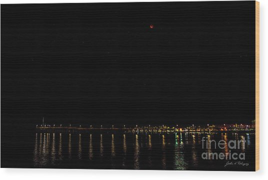 Blue Blood Moon 2018 Ventura, California Pier Wood Print