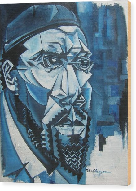Blue Blue Monk Wood Print by Martel Chapman
