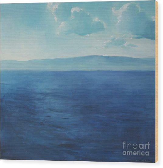 Blue Blue Sky Over The Sea  Wood Print