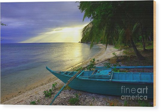 Blue Boat And Sunset On Beach Wood Print
