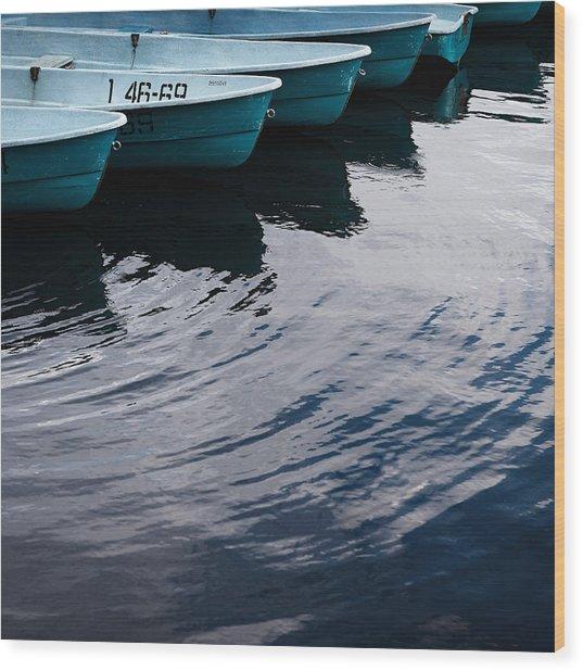 Blue Boat Wood Print