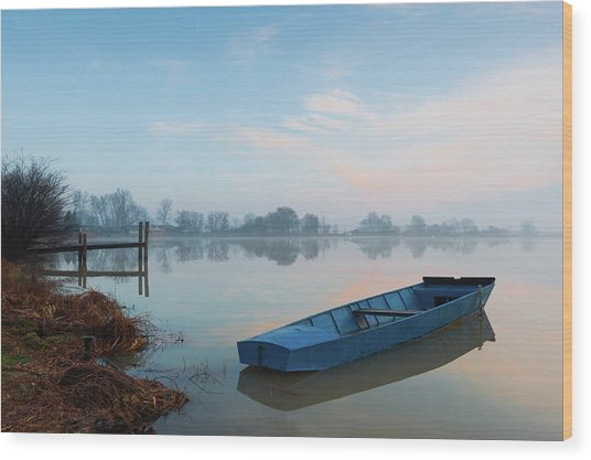 Wood Print featuring the photograph Blue Boat by Davor Zerjav