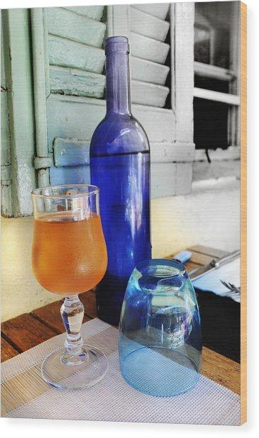 Blue Bottle Wood Print by Martine Affre Eisenlohr
