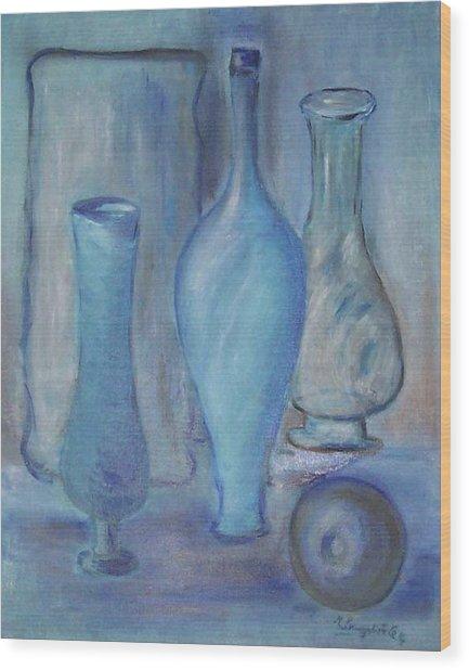 Blue Bottles  Wood Print by Michel Croteau