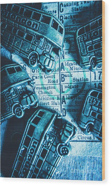 Blue Britain Bus Bill Wood Print