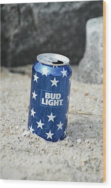 Blue Bud Light Wood Print