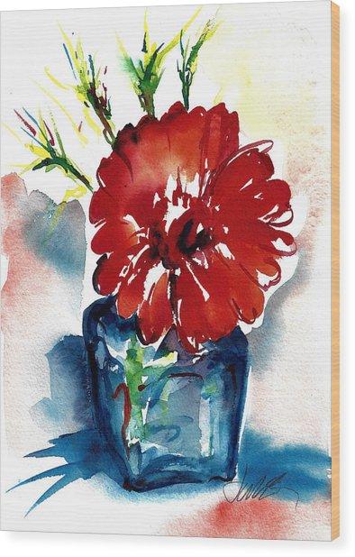 Blue Bud Vase Wood Print