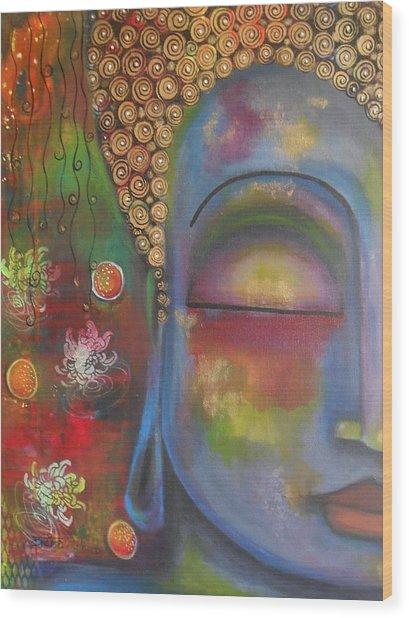 Buddha In Blue Meditating  Wood Print