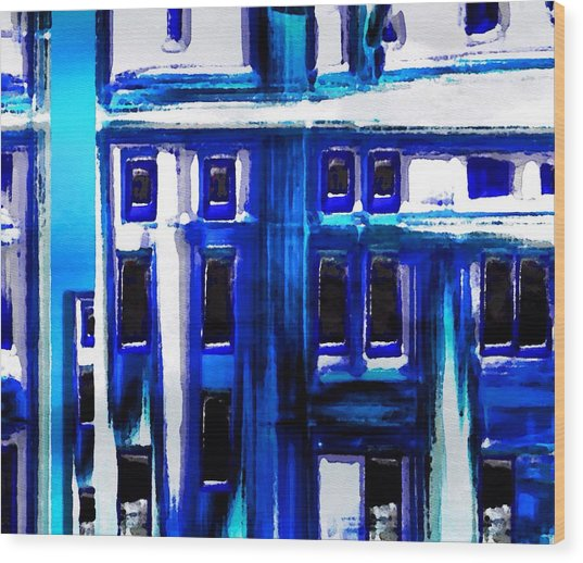 Blue Buildings Wood Print