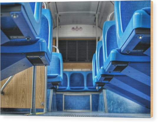 Blue Bus Seats Wood Print