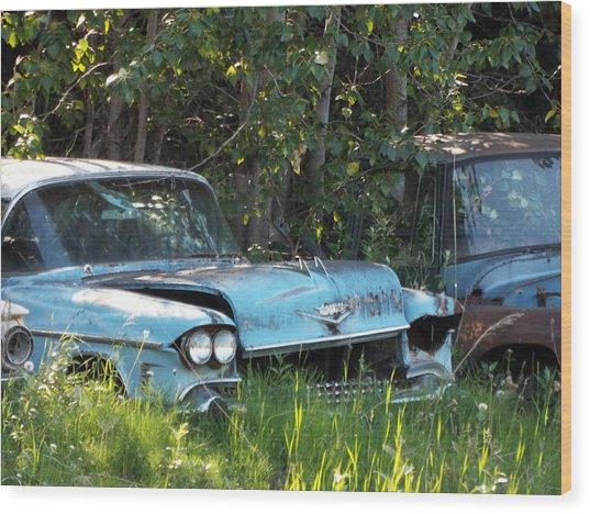 Blue Cadillac Wood Print