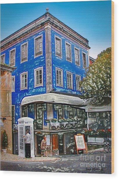 Blue Cafe On The Corner Wood Print
