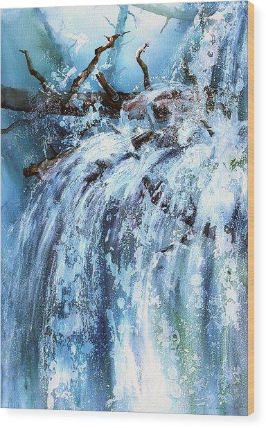 Blue Cascades Wood Print