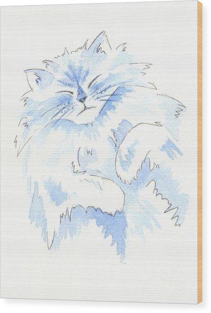 Blue Cat Wood Print