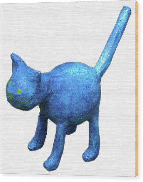 Blue Cat Wood Print by Maria Rosa