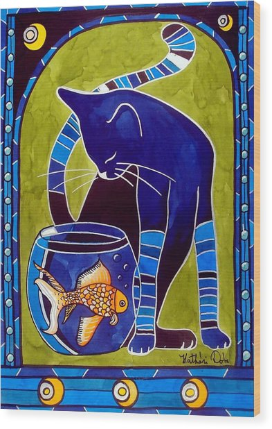 Blue Cat With Goldfish Wood Print