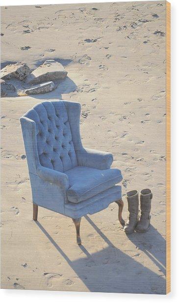 Blue Chair Wood Print