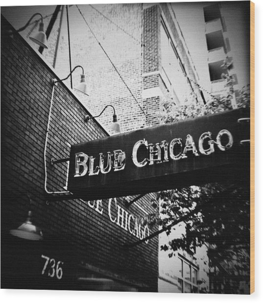 Blue Chicago Nightclub Wood Print