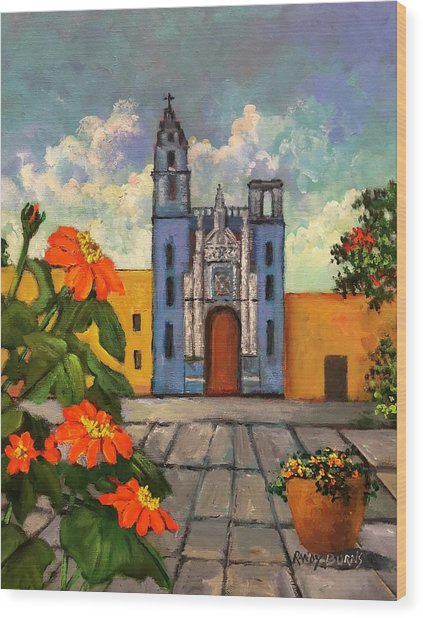 Blue Church   Iglesia Azul Wood Print