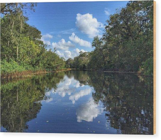 Blue Cloud Reflections  Wood Print