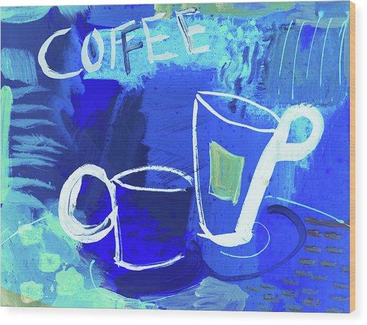 Blue Coffee Wood Print