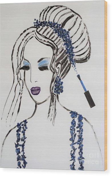 Blue Color Fan Wood Print