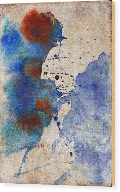 Blue Color Splash Wood Print