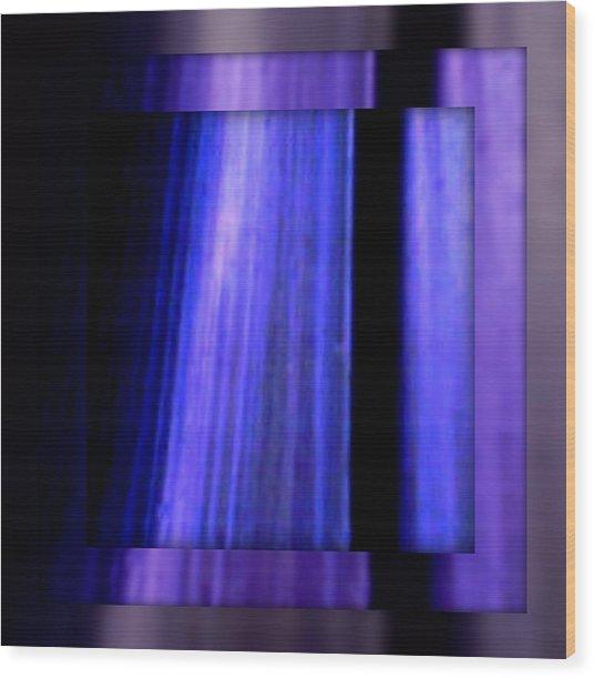 Blue Column Art Wood Print by Joan Kamaru