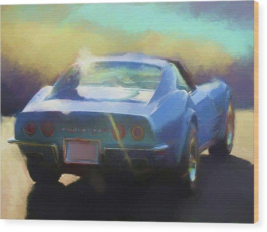 Blue Corvette Wood Print