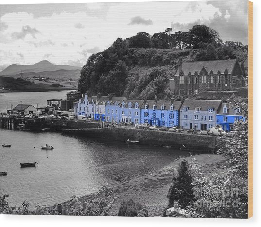 Blue Cottages At Portree Harbour 5 Wood Print