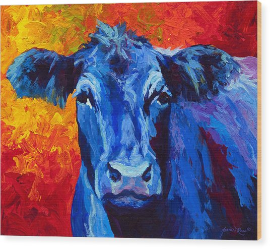 Blue Cow II Wood Print