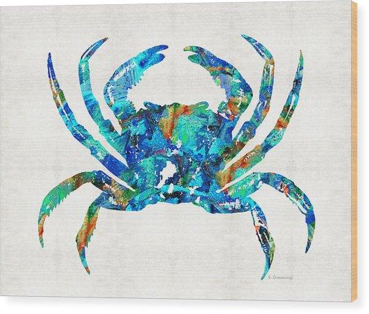 Blue Crab Art By Sharon Cummings Wood Print