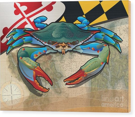 Blue Crab Of Maryland Wood Print