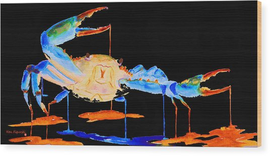 Blue Crab Two Wood Print