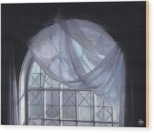 Hand-painted Blue Curtain In An Arch Window Wood Print