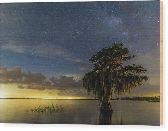 Blue Cypress Lake Nightsky Wood Print