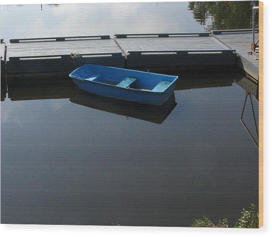Blue Dinghy Quiet Waters Wood Print