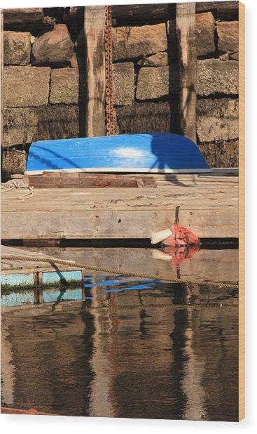 Blue Dingy Wood Print