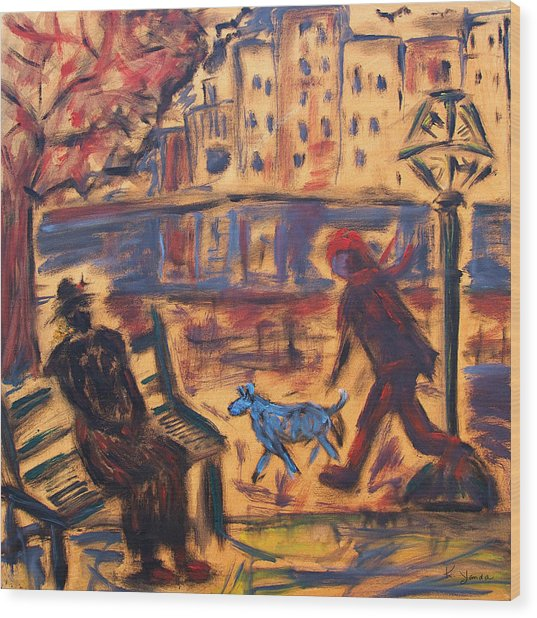 Blue Dog In The City Wood Print