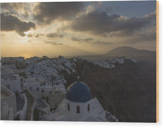 Blue Dome - Santorini Wood Print